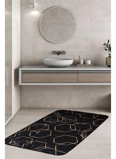 Hamur Alyans 75x125 cm Banyo Paspası Kaymaz Taban Banyo Halısı Siyah